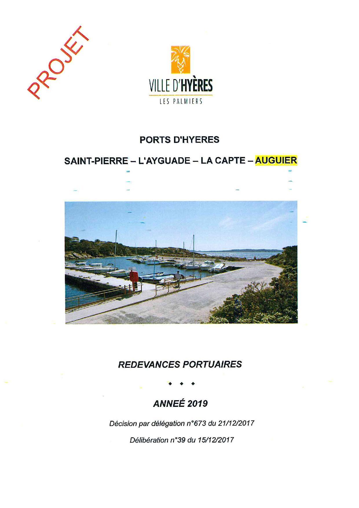 Tarifs du port Auguier