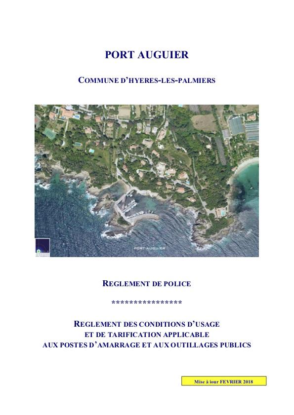 Règlements d'inscription du port Auguier