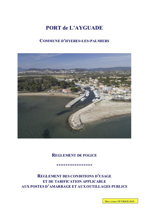 Règlements d'inscription du port de l'Ayguade