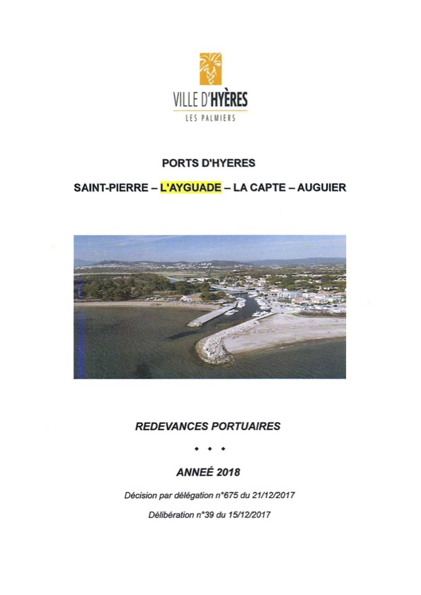 Tarifs du port de l'Ayguade